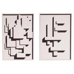 Patrick Mather Hard-Edge Black and White Acrylic Painting, Pair