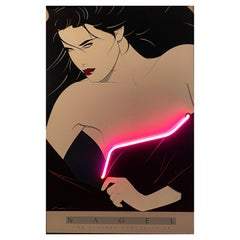 Patrick Nagel Print with Pink Neon Accent, 1980s