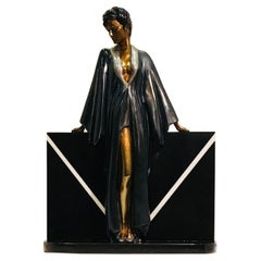 "Patrick Nagel Retro ""Standing Lady"" Bronze and Granite Sculpture Limited Edition"