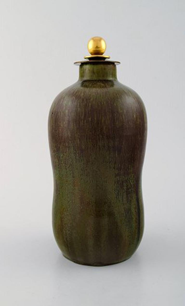 Art Deco Patrick Nordstrøm / Carl Halier for Royal Copenhagen, Lidded Stoneware Vase For Sale
