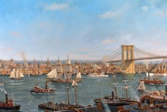 View of the East River and Brooklyn Bridge, New York City, 1899