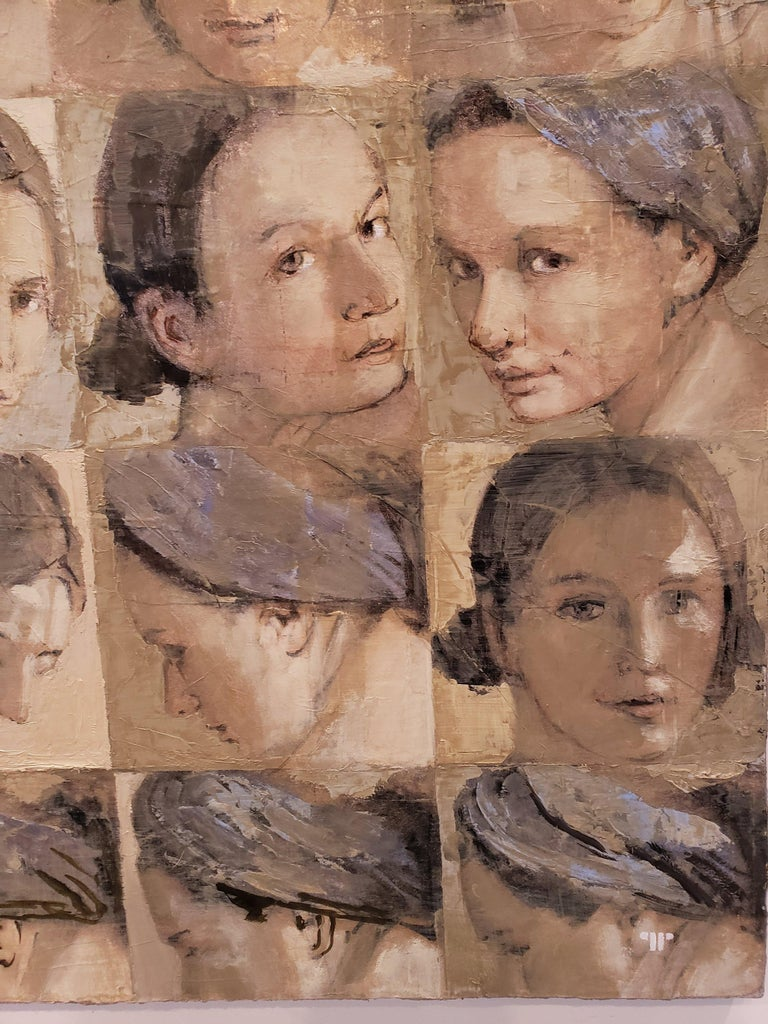 Series of portraits of a blonde woman's face, wearing a blue headband, at different angles, arranged in a grid across the canvas. Beiges, blue, silver, and brown. Oil and silver on Canvas.   Patrick Pietropoli was a teacher of political studies for