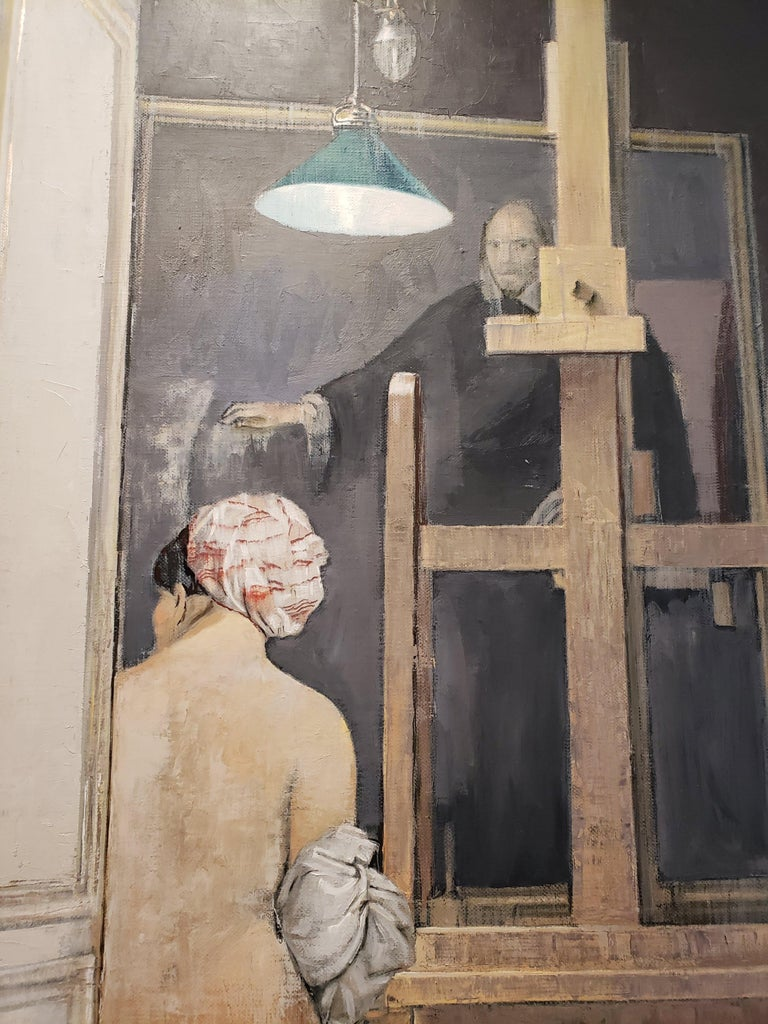 Naked female subject facing away from the viewer, sitting on a bench next to an easel, with a man in large black robes in the background.   Patrick Pietropoli was a teacher of political studies for several years before becoming a professional