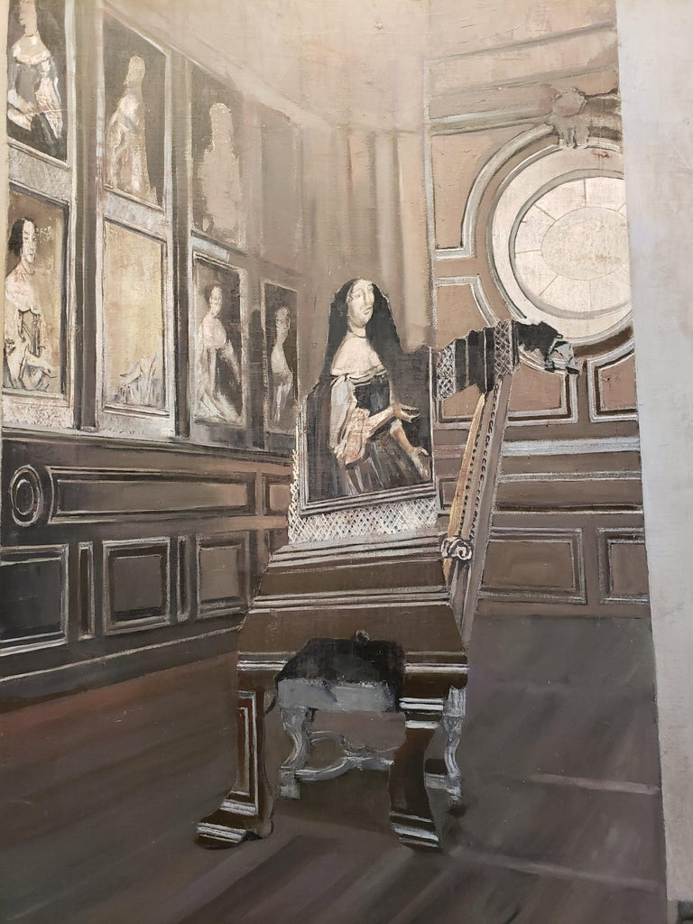 Canvas depicting a canvas on a chair in a studio with two floor lights in either corner. Oil and Silver on Canvas.   Patrick Pietropoli was a teacher of political studies for several years before becoming a professional artist. Trained as both a