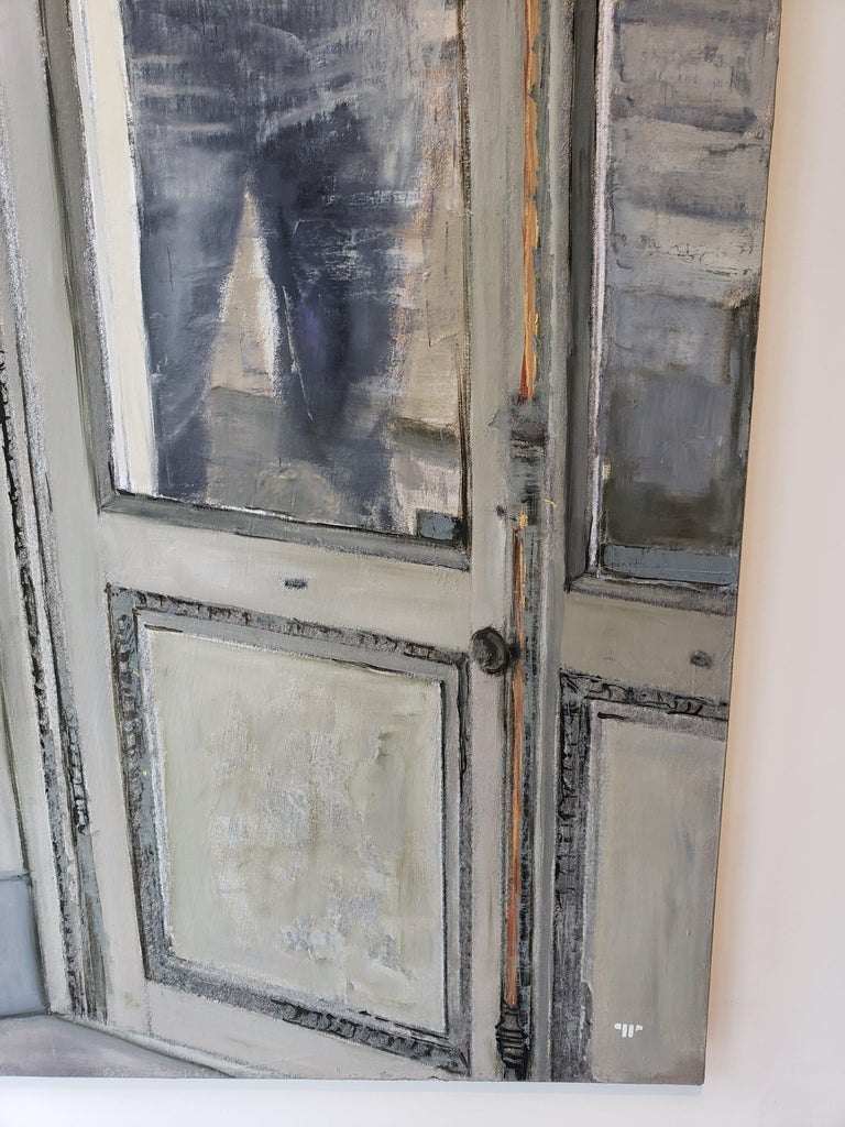 Depiction of a window at the corner of a wall, through which you can see a partly-nude girl. A canvas is on an easel in the background. Oil and silver on canvas.   Patrick Pietropoli was a teacher of political studies for several years before
