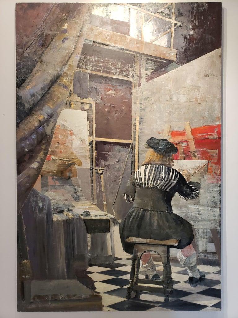 Vermeer at work - Modern Painting by Patrick Pietropoli