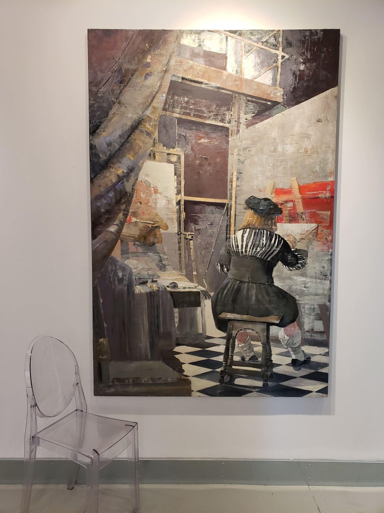 Image of a painter in his studio. Viewer is looking past a curtain. Beige, greys, reds, some pinks. Oil and Silver on Canvas.   Patrick Pietropoli was a teacher of political studies for several years before becoming a professional artist. Trained as