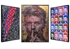 """Explosion D'amour"" David Bowie, Original Kinetic Artwork on Panel, Silver Leaf"