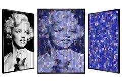 Marilyn Power, Original Kinetic Artwork On Panel, Black Glitter