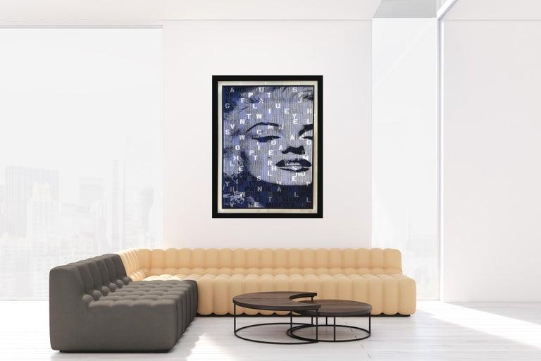 The Great Blond, Original Kinetic Artwork on Panel, Black Glitter/ Silver Leaf For Sale 4