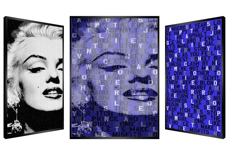 Patrick Rubinstein Portrait Painting - The Great Blond, Original Kinetic Artwork on Panel, Black Glitter/ Silver Leaf