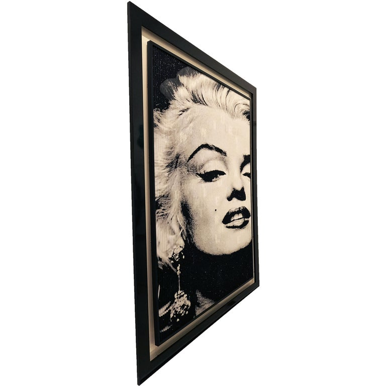 The Great Blond, Original Kinetic Artwork on Panel, Black Glitter/ Silver Leaf - Painting by Patrick Rubinstein