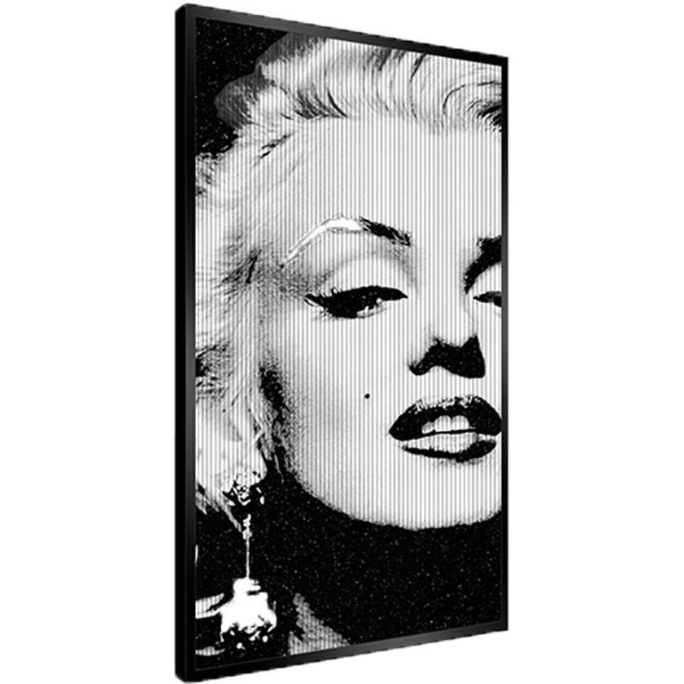 The Great Blond, Original Kinetic Artwork on Panel, Black Glitter/ Silver Leaf - Contemporary Painting by Patrick Rubinstein