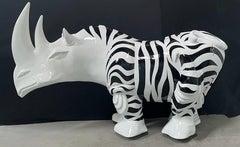 Rhinozebros 120 - Adorned with a zebra skin - Monumental Outdoor Sculpture