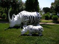 Rhinozebros 340 - Adorned with a zebra skin - Monumental Outdoor Sculpture