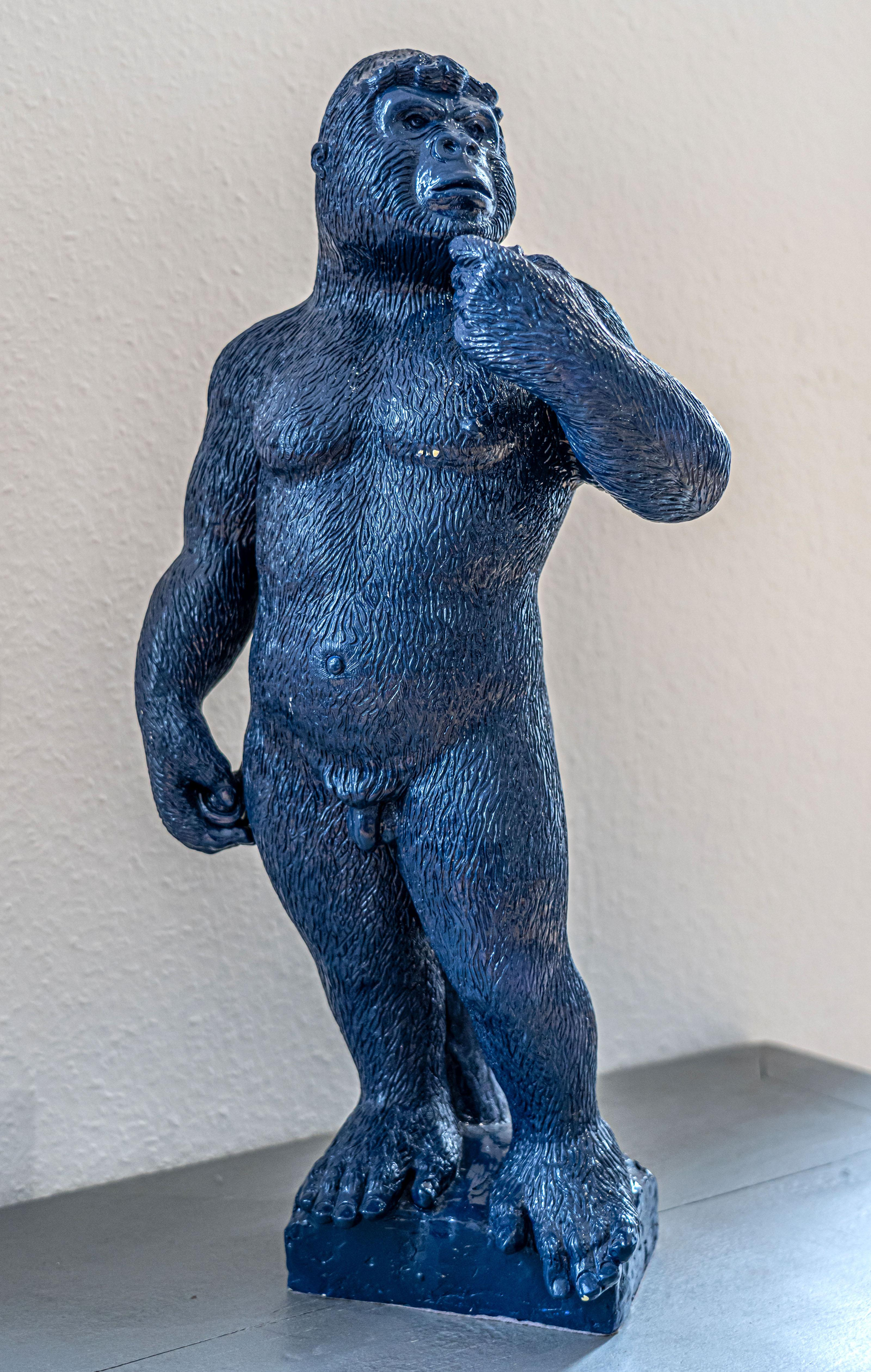 "Soon ! Dark Blue Gorilla Sculpture in the posture of the ""David"" by Michelangelo"