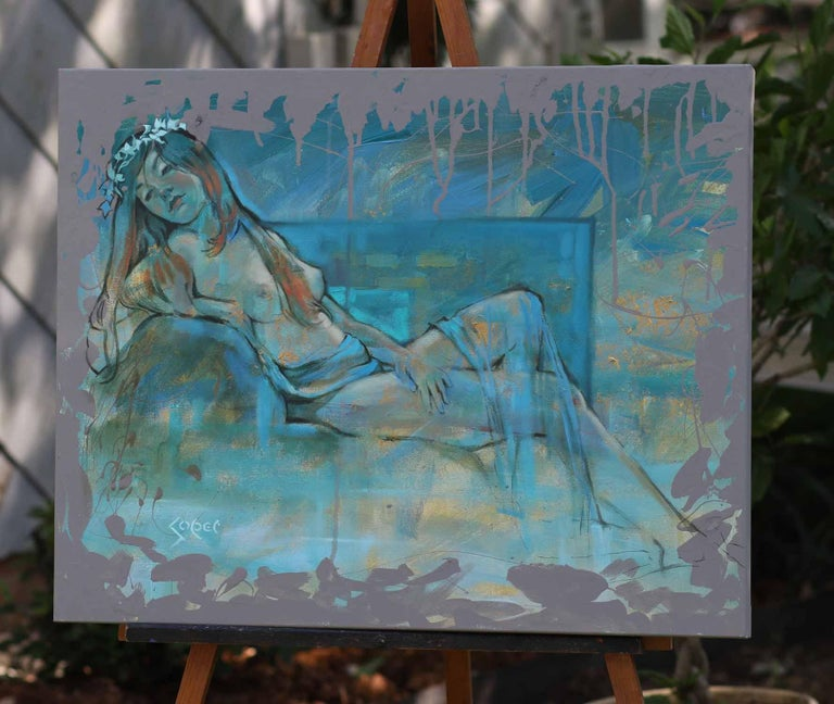 <p>Artist Comments<br />A nude reclines with ease, draped with a sheer cloth. Her pose denotes comfortable peace and tranquility. The model's warm skin and vibrant hair glow amidst the cool blue palette. Artist Patrick Soper painted to evoke