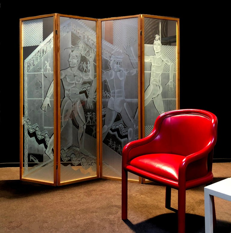 Patrick Wadley Four Panel Etched Glass Screen For Sale 5