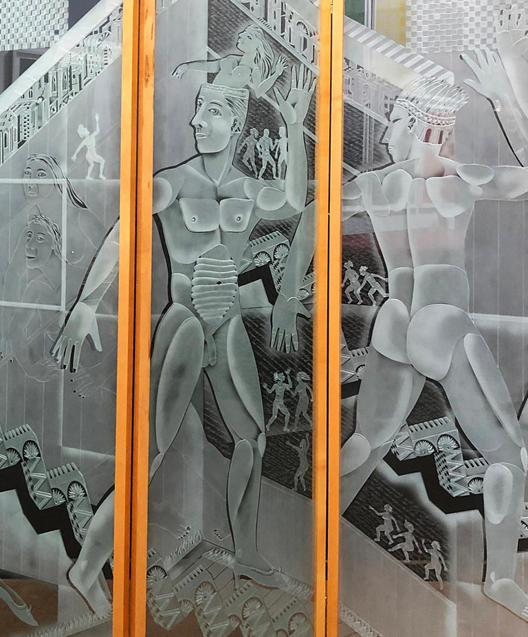 Fine art, etched and sandblasted glass screen by American artist, Patrick Wadley (1950 - 1992) Signed and dated 1987. The panels are framed with wood and are connected with hinges. Each panel measures: 73 1/2