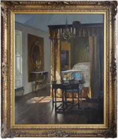 The Yellow Bed - Scottish Edinburgh art interior oil painting exhbited RSA 1917