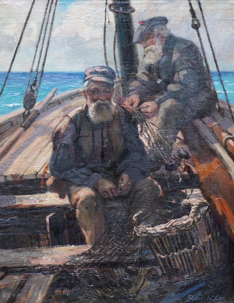 Fishermen Sailors at Sea - Scottish Victorian art marine portrait oil painting For Sale 5