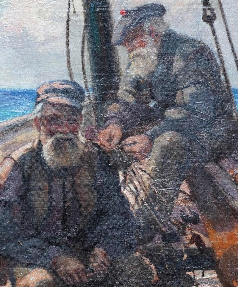 Fishermen Sailors at Sea - Scottish Victorian art marine portrait oil painting - Brown Portrait Painting by Patrick William Orr