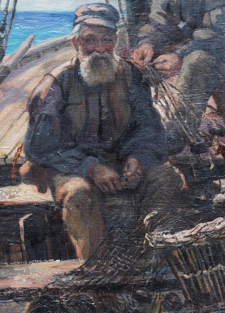 This charming Scottish Victorian oil painting is by noted Scottish artist Patrick William Orr. Painted circa 1880, this marine portrait is of two fishermen sailors at sea, sorting their nets. A lovely nautical painting full of character with great