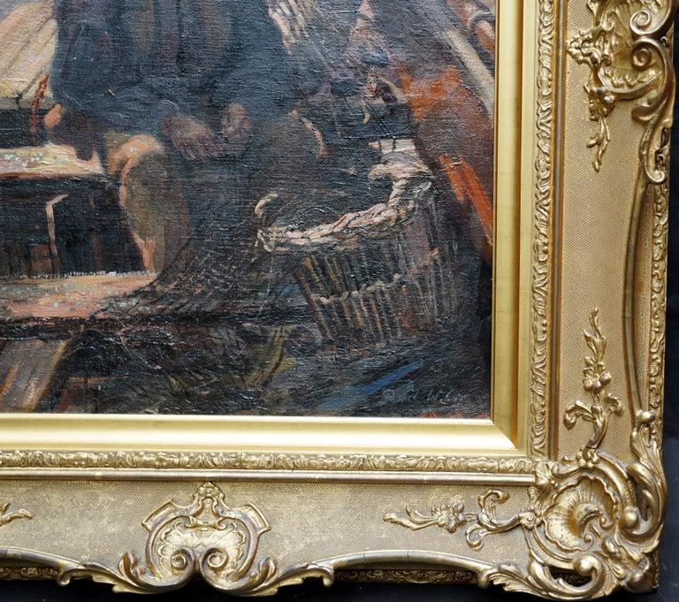 Fishermen Sailors at Sea - Scottish Victorian art marine portrait oil painting For Sale 2