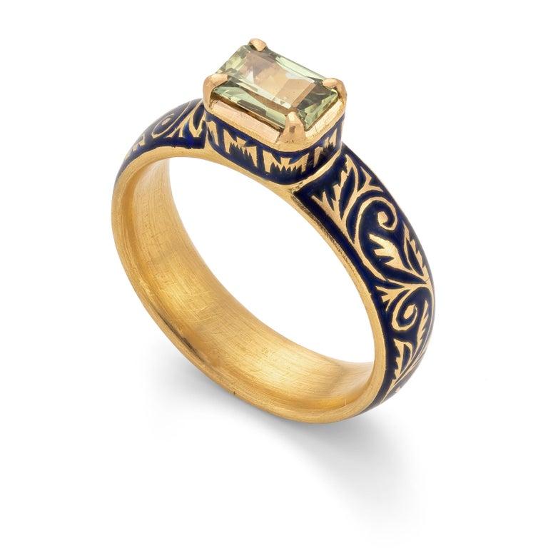 Artisan Patrika Ring with Australian Sapphire, 22 Karat Yellow Gold For Sale