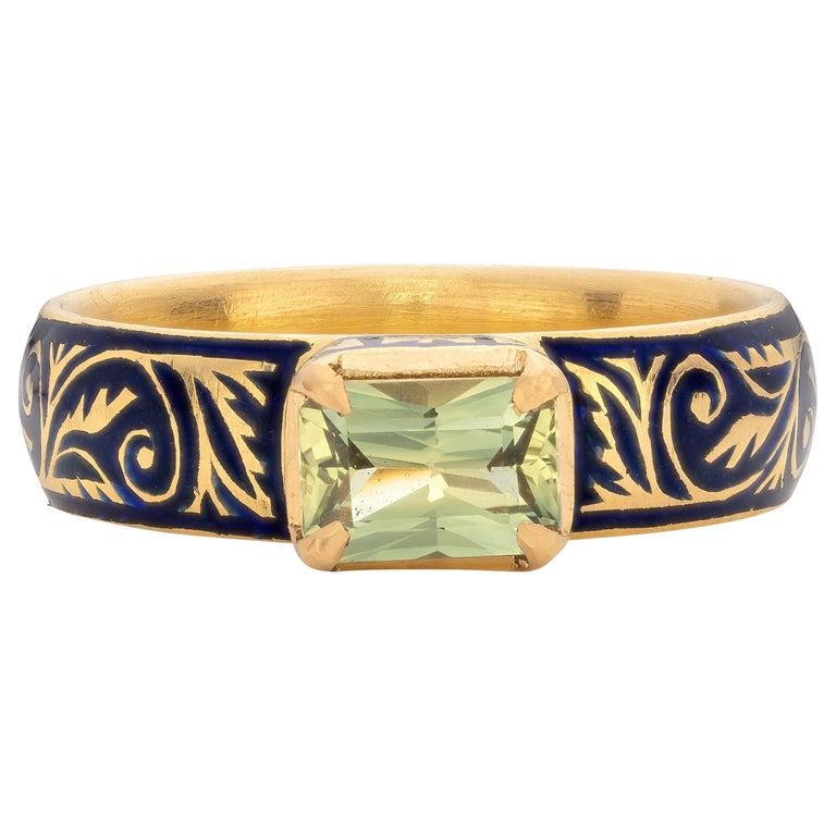 Patrika Ring with Australian Sapphire, 22 Karat Yellow Gold For Sale