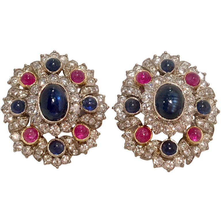 12 Carat Red Ruby, Blue Sapphire, and White Diamond 18K Gold Earrings  For Sale