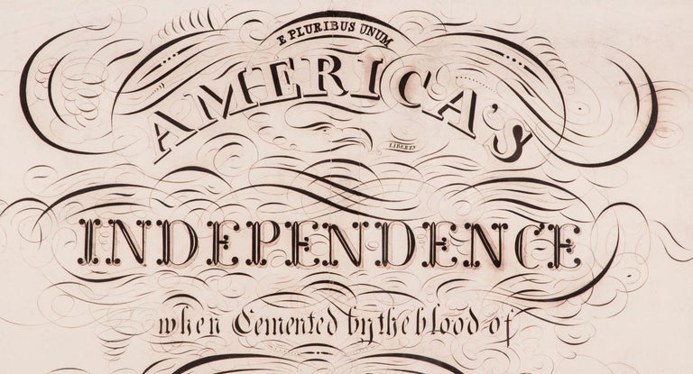 American Patriotic Calligraphy with Revolutionary War References For Sale
