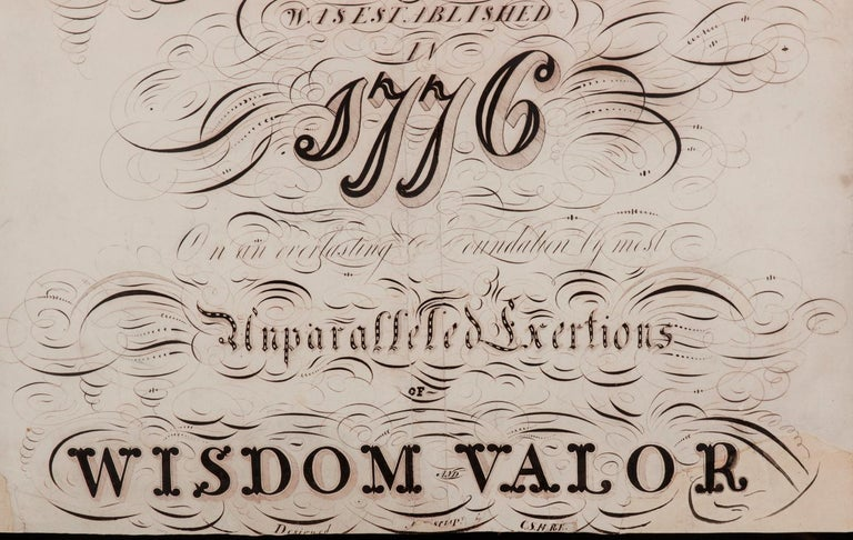 Patriotic Calligraphy with Revolutionary War References In Good Condition For Sale In York County, PA