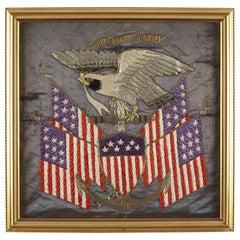 """Patriotic """"E Pluribus Unum"""" and Eagle Silk Embroidered White Fleet Souvenir 1909"""