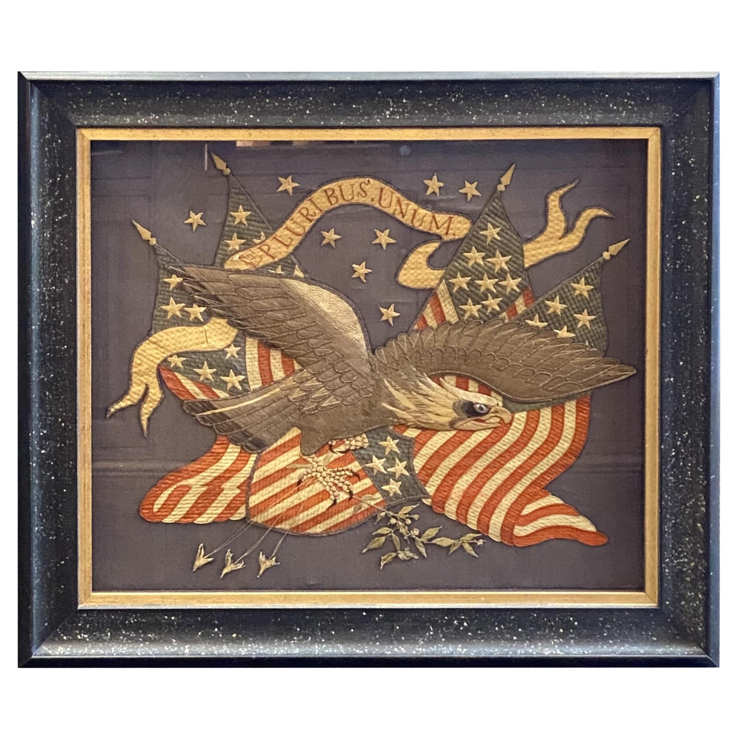 """Patriotic """"E Pluribus Unum"""" Silk and Metallic Embroidered Souvenir of Eagle"""