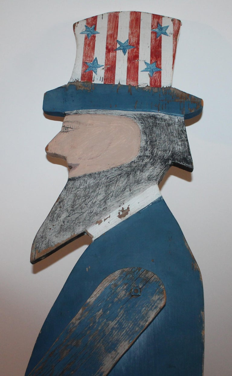 Country Patriotic Folky Uncle Sam, Garden Ornament For Sale