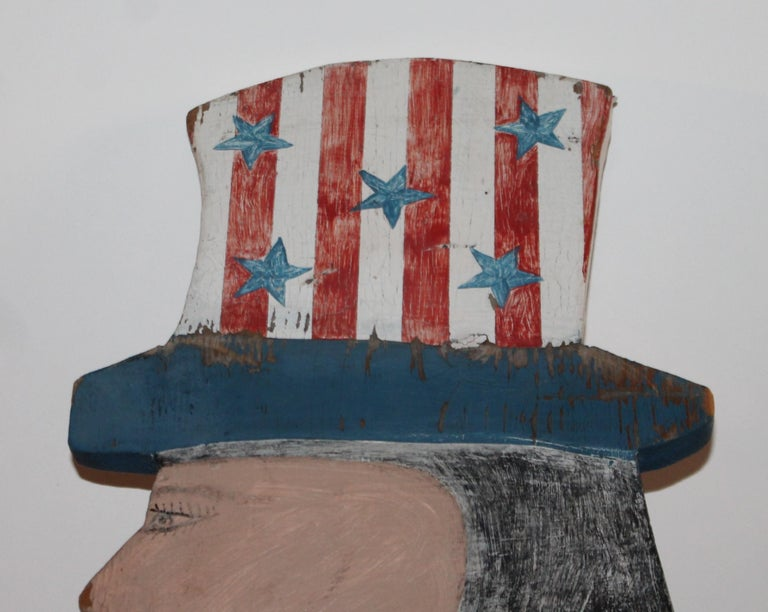 American Patriotic Folky Uncle Sam, Garden Ornament For Sale