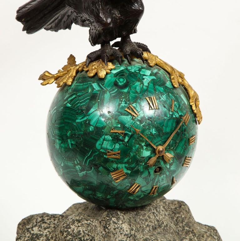 Patriotic French Patinated Bronze Eagle and Malachite Clock on Granite Base 1889 For Sale 5