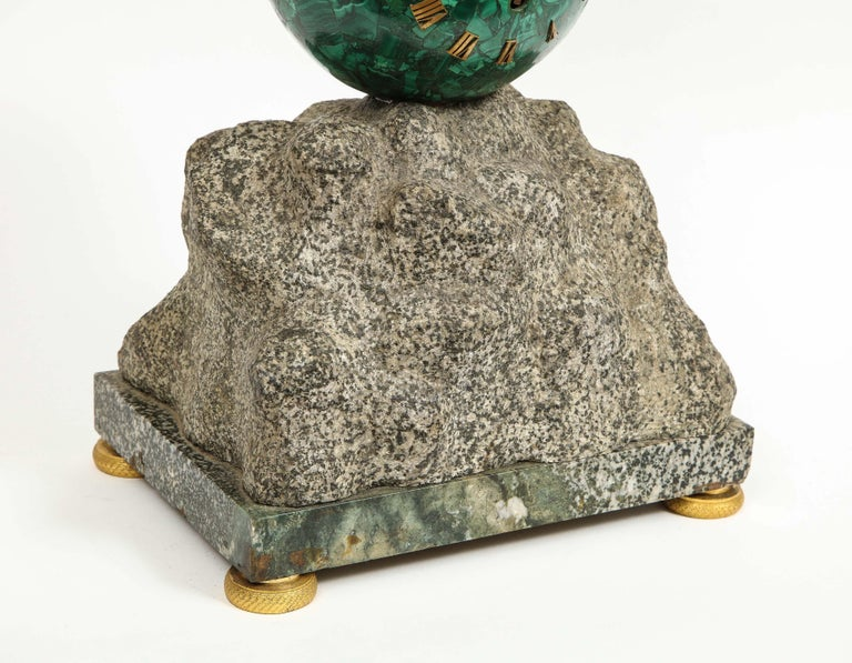 Patriotic French Patinated Bronze Eagle and Malachite Clock on Granite Base 1889 For Sale 6