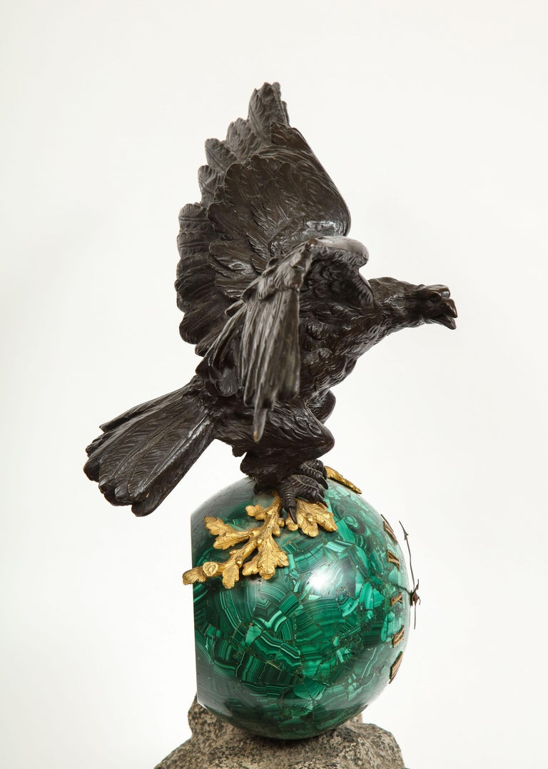 Patriotic French Patinated Bronze Eagle and Malachite Clock on Granite Base 1889 For Sale 7