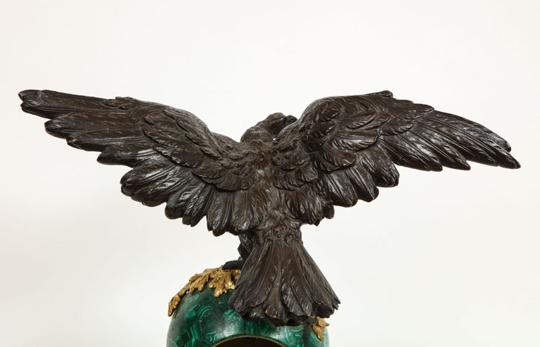 Patriotic French Patinated Bronze Eagle and Malachite Clock on Granite Base 1889 For Sale 9