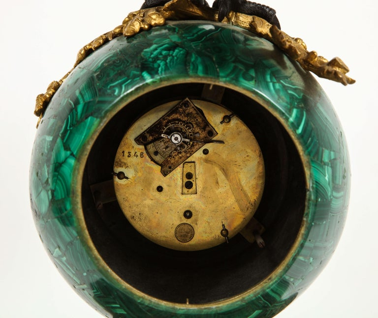 Patriotic French Patinated Bronze Eagle and Malachite Clock on Granite Base 1889 For Sale 11