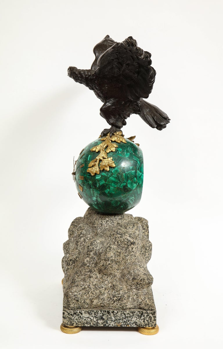 Patriotic French Patinated Bronze Eagle and Malachite Clock on Granite Base 1889 For Sale 12