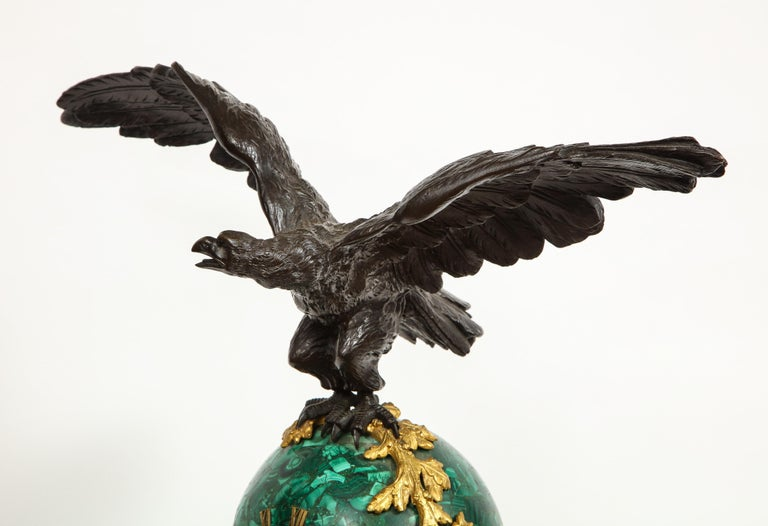 Patriotic French Patinated Bronze Eagle and Malachite Clock on Granite Base 1889 For Sale 13