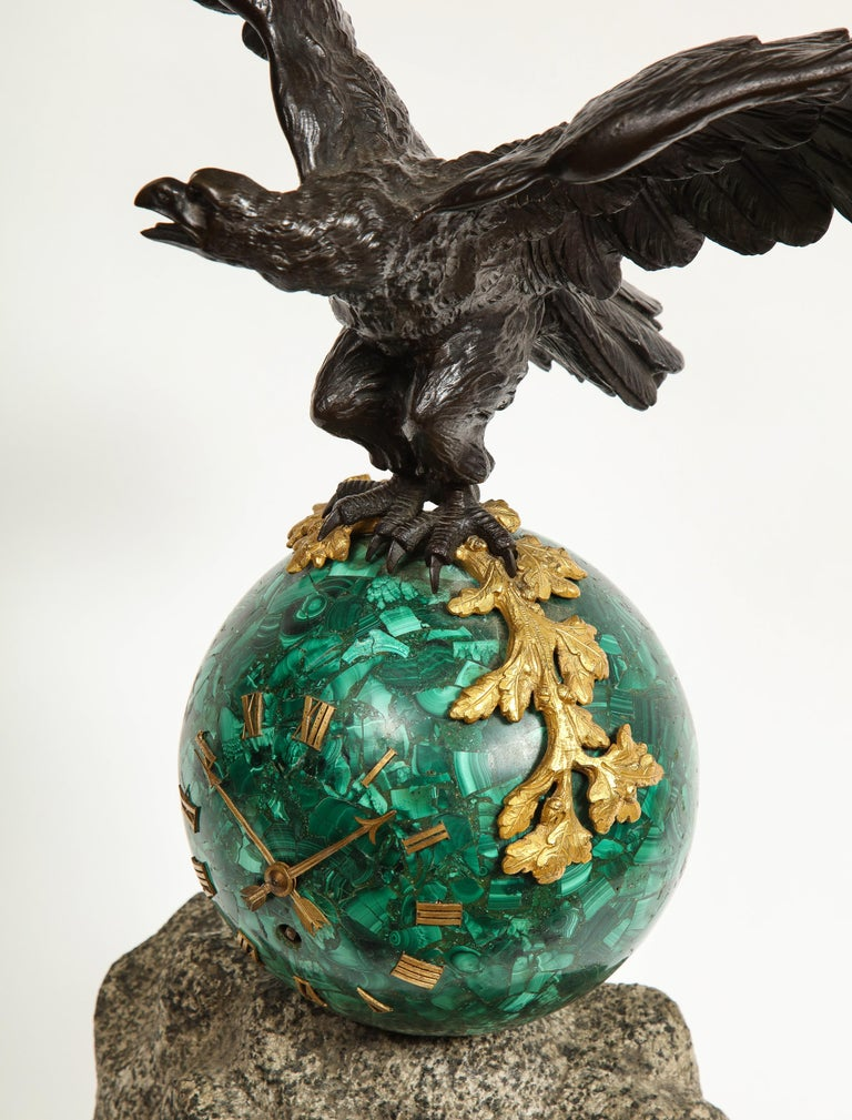 Patriotic French Patinated Bronze Eagle and Malachite Clock on Granite Base 1889 For Sale 14