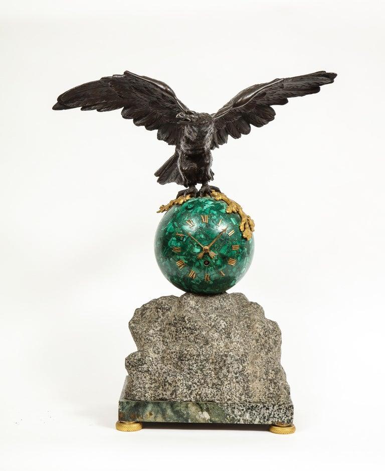 American Empire Patriotic French Patinated Bronze Eagle and Malachite Clock on Granite Base 1889 For Sale