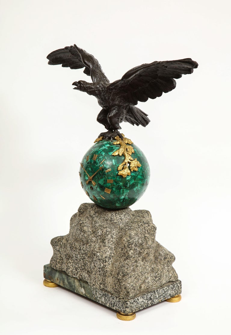 Patriotic French Patinated Bronze Eagle and Malachite Clock on Granite Base 1889 In Good Condition For Sale In New York, NY