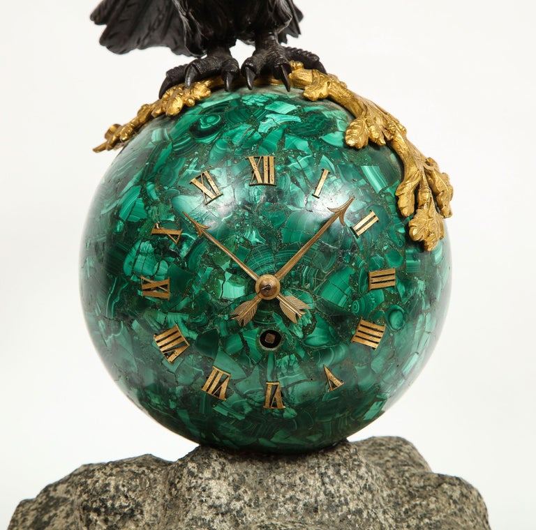 Patriotic French Patinated Bronze Eagle and Malachite Clock on Granite Base 1889 For Sale 2