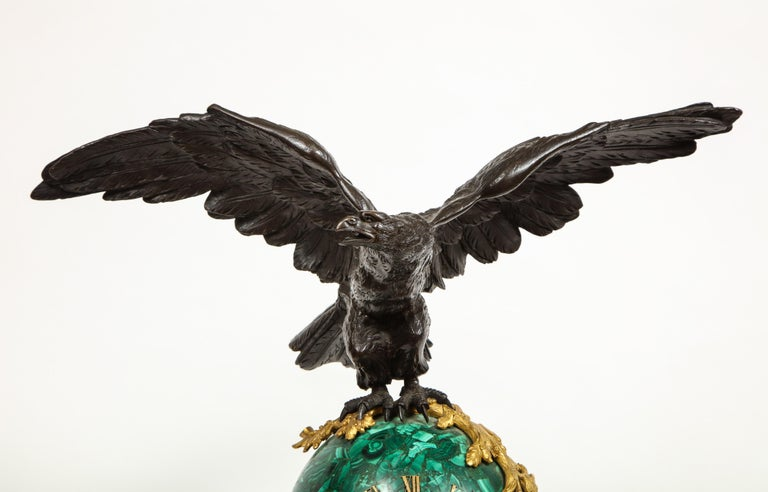 Patriotic French Patinated Bronze Eagle and Malachite Clock on Granite Base 1889 For Sale 3