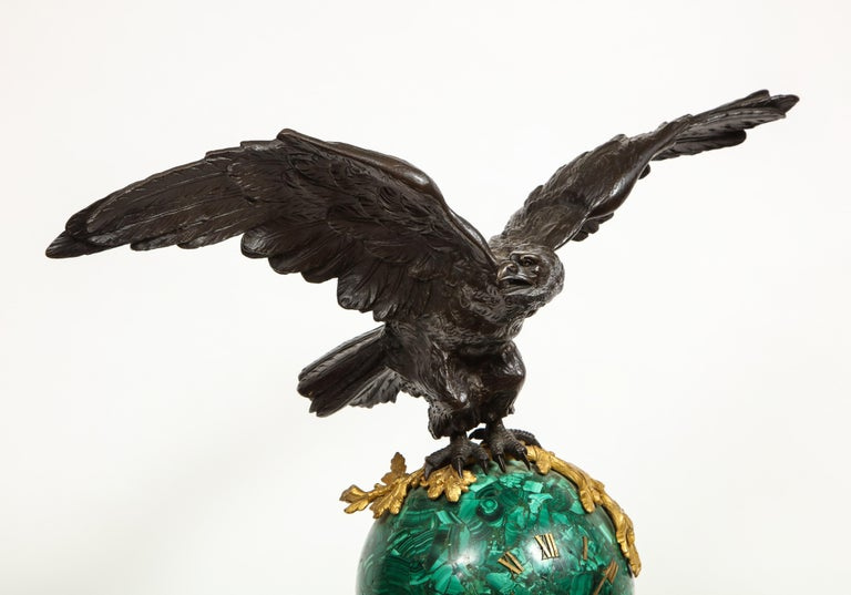 Patriotic French Patinated Bronze Eagle and Malachite Clock on Granite Base 1889 For Sale 4